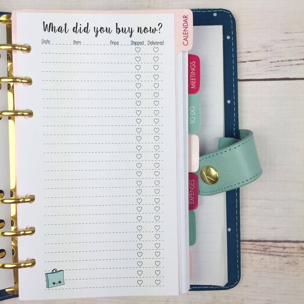 PERSONAL SIZE Planner Insert - Purchase Tracker
