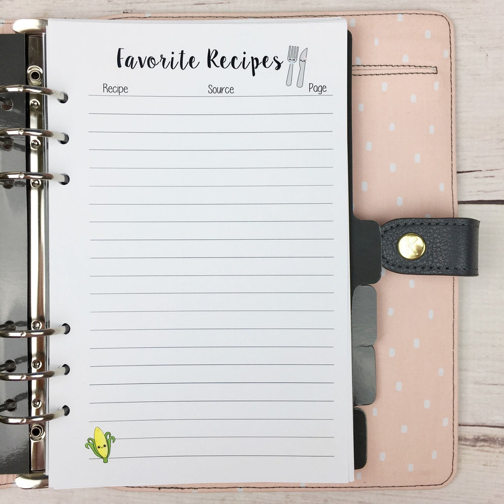 A5 Kawaii Planner Inserts- Favorite Recipes