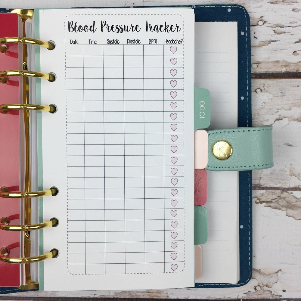 PERSONAL SIZE Planner Insert - Blood Pressure Tracker