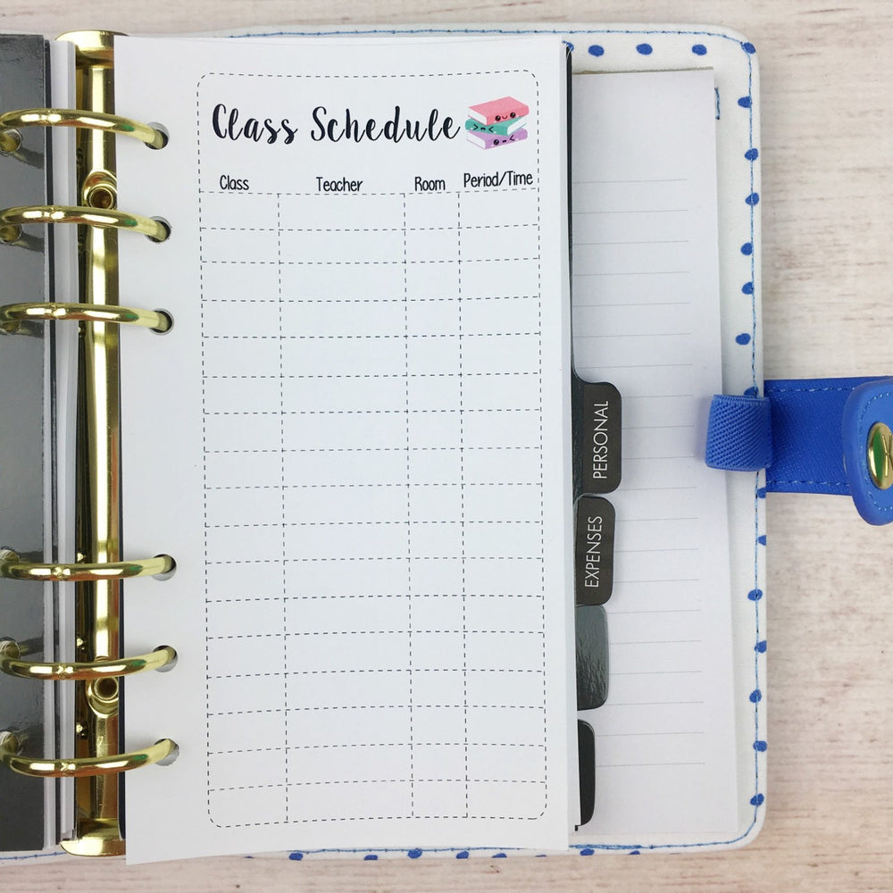 PERSONAL SIZE Planner Insert - Class Schedule