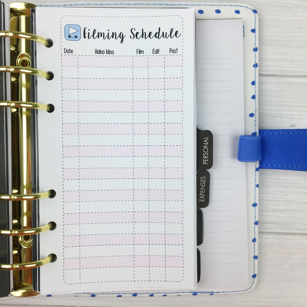 PERSONAL SIZE Planner Insert - Filming Schedule