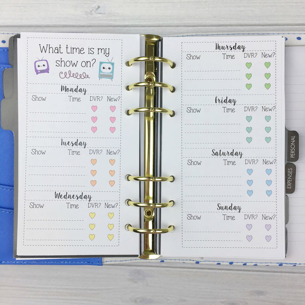 PERSONAL SIZE Planner Insert - TV Shows