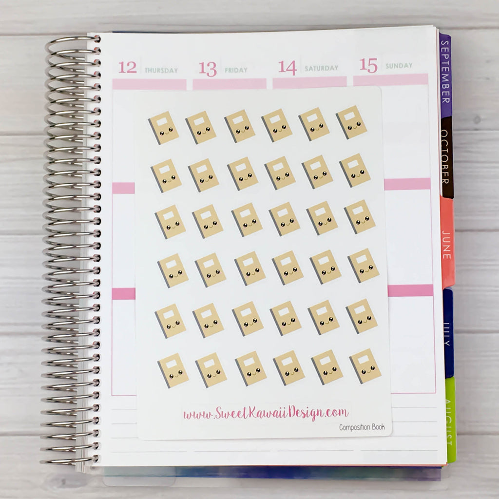 Kawaii Composition Book Stickers