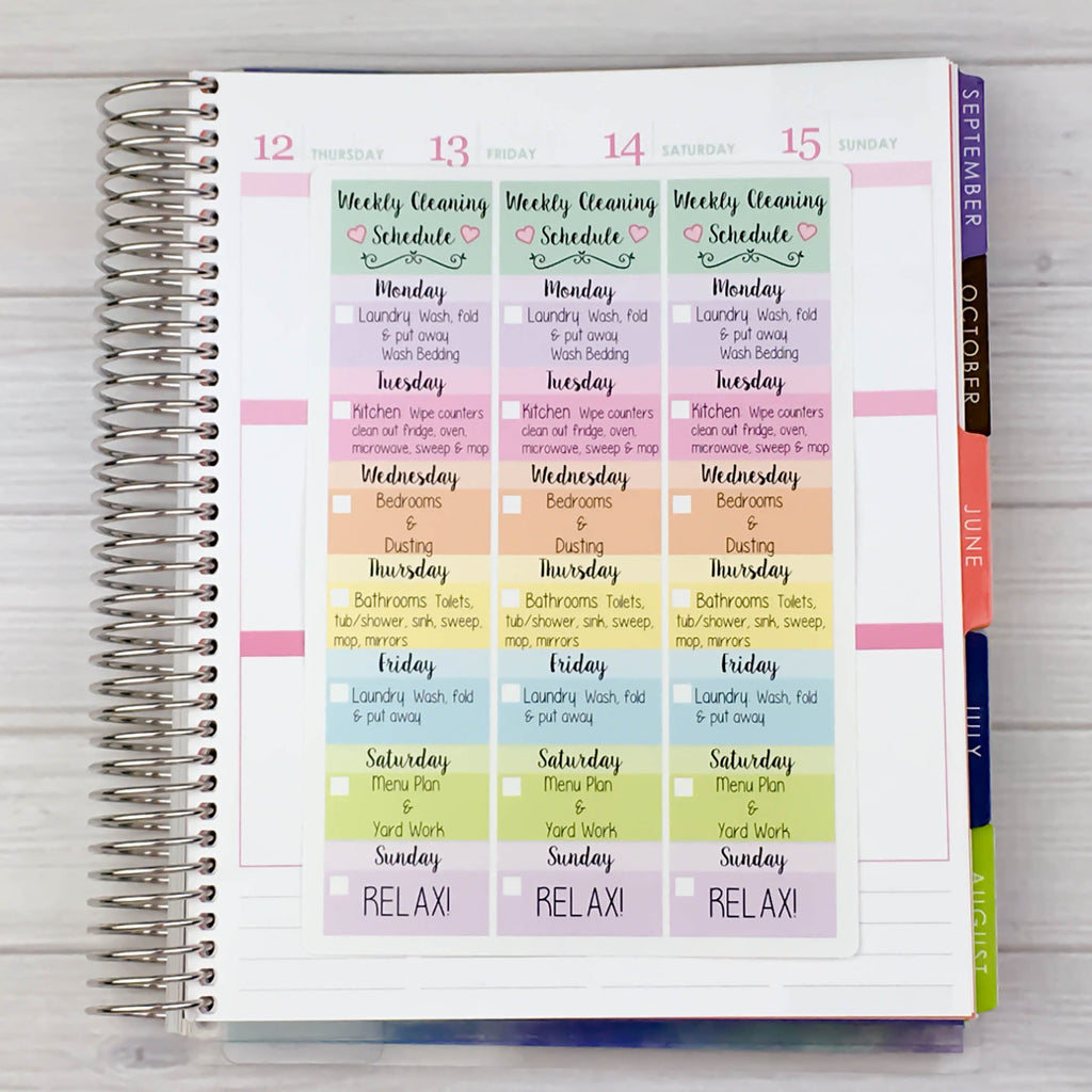 Weekly Cleaning Schedule Stickers