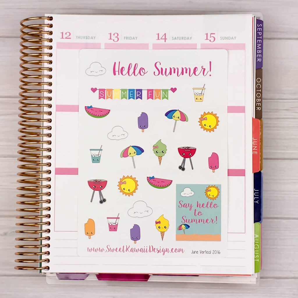 Kawaii Hello Summer Stickers
