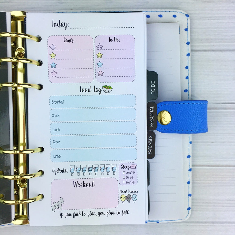 PERSONAL SIZE Planner Insert - Pastel Fitness Log