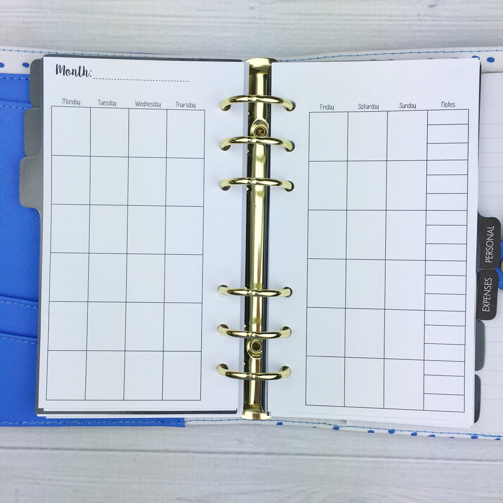 PERSONAL SIZE Planner Insert - Blank Monthly Overview