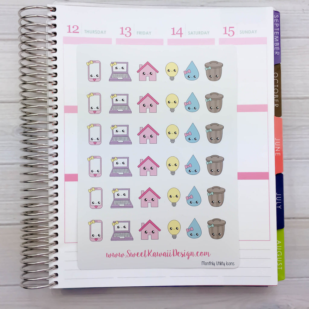 Kawaii Monthly Utility/Bill Icon Stickers (new)