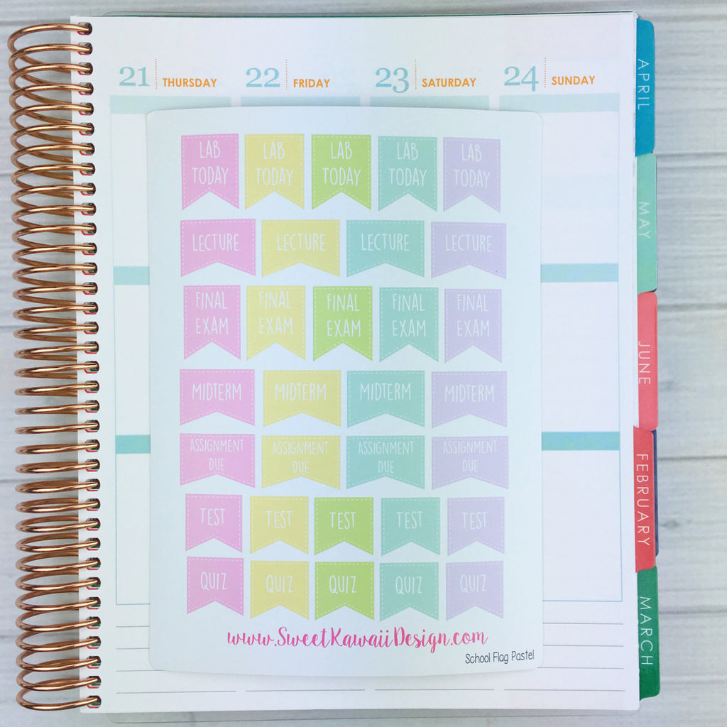 Kawaii College Class Flag Stickers Pastel