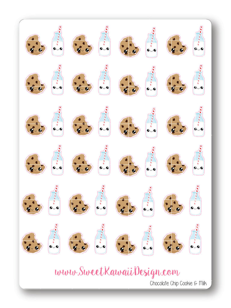 Kawaii Chocolate Chip Cookies and Milk Stickers