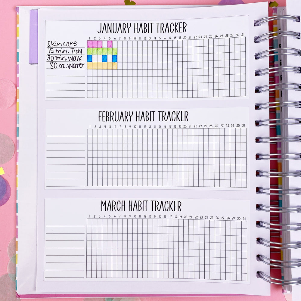 Kawaii SKD/CPC Planner Habit Tracker Overview - 12 Month