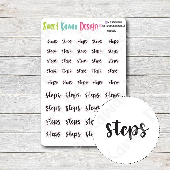 Typography Stickers - Steps