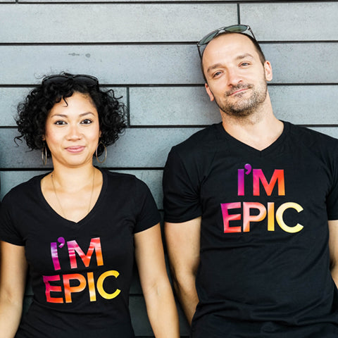 Black I'M EPIC V-Neck T-Shirt