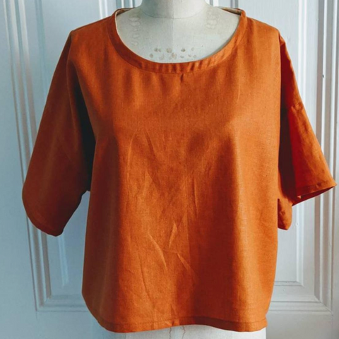 Pumpkin Spice Linen Top