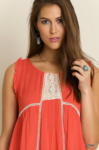 Coral Sleeveless Tunic with Lace Detail