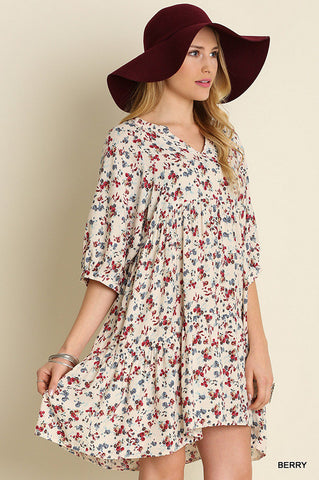 Berry Floral Peasant Dress