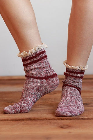 Cable Knit Lace Top Socks