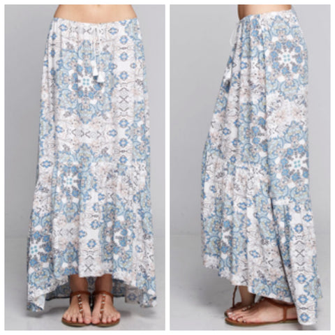 Blue/Blush Printed Skirt