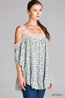 Blue and White Floral Top with Crochet Open Shoulder Sleeves