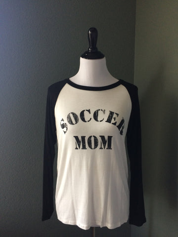 'Soccer Mom' Graphic Baseball Sleeve Top