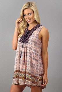 Cute Woven Dress with Lace Up Detail