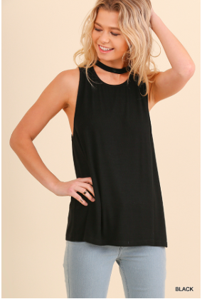 Black Mock Neck Tank Top