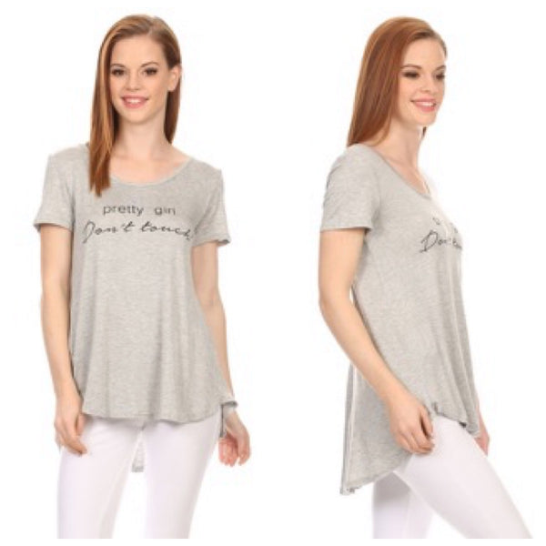 Heather Gray Scoop Neck Tee 'Pretty Girl Don't Touch!'