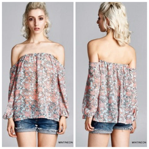 Boho Floral Off the Shoulder Top