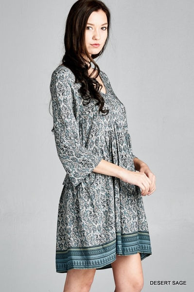 Desert Sage Ethnic Print Dress