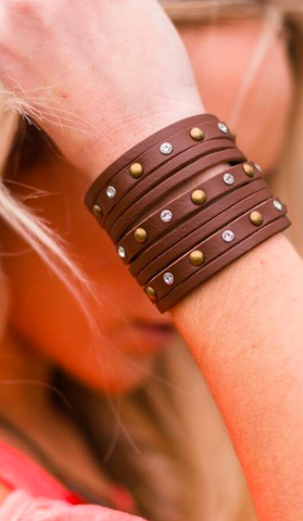 Brown Out West Leather Cuff
