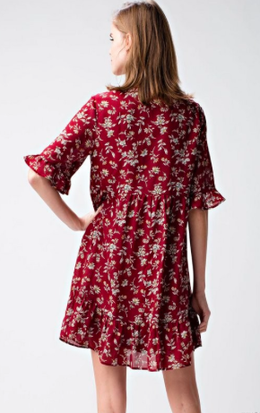 Brick Floral Baby Doll Dress