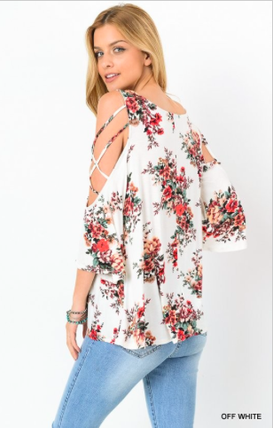 Floral Open Shoulder Top
