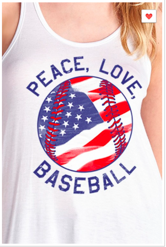 'Peace, Love, Baseball' Graphic Tank