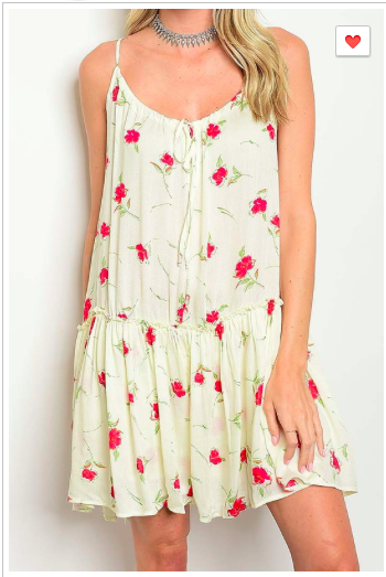 Cream Floral Print Ruffle Dress