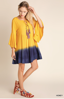 Dip Dye Tassel Dress in Honey