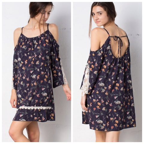 Floral Pattern Cold Shoulder Boho Dress