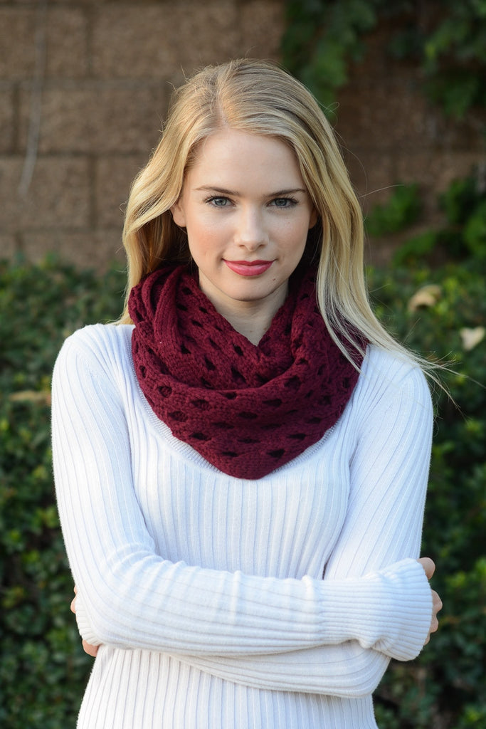 Burgundy Patterned Infinity Scarf