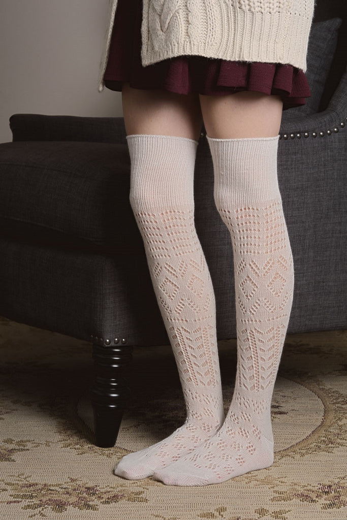Ivory Thigh High Patterned Socks