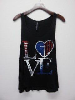 Graphic Tank 'LOVE' Red, White, & Blue