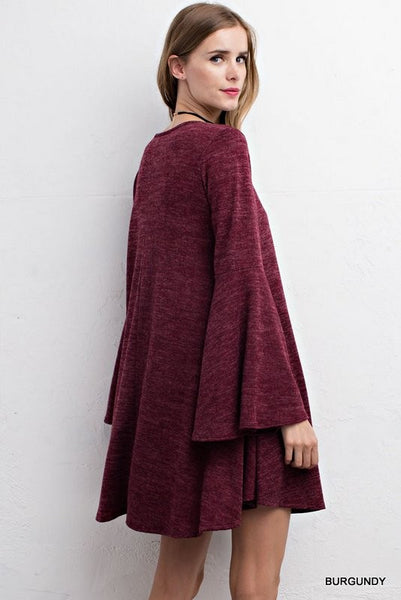 Beautiful Burgundy Dress with Bell Sleeves