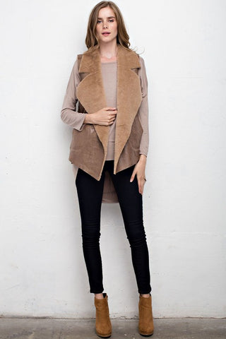 Beige Vest with Faux Fur Lining