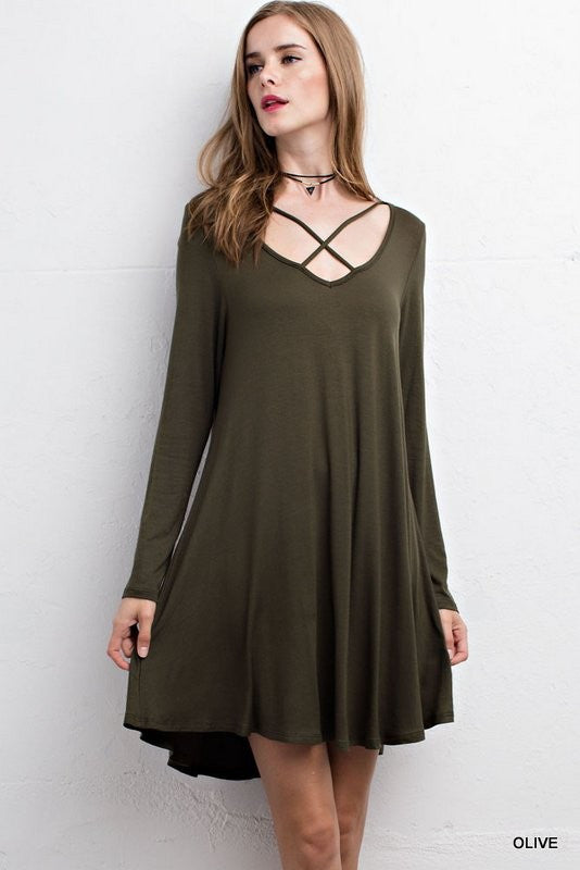 Olive Solid Dress