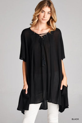 Black Lace Up Tunic