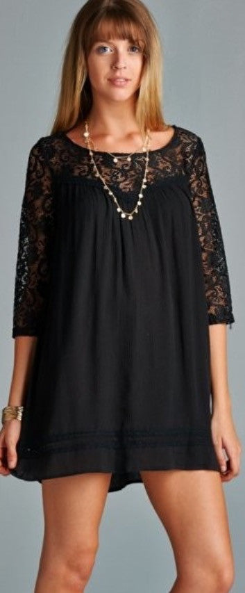 Black Tunic Dress with Lace Detail