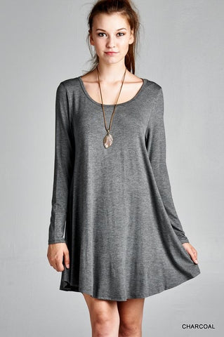 Charcoal A-Line Solid Tunic Dress
