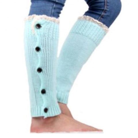Cute Buttons and Lace Knitted Leg Warmers/Boot Cuffs
