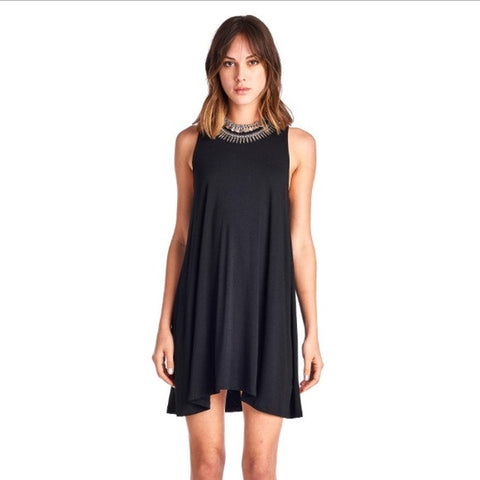 Black Scoop Neck Sleeveless Swing Dress