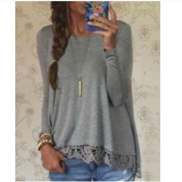 Long Sleeve with Lace Trim Detail Top