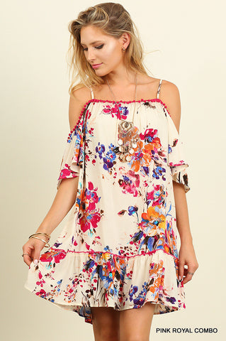 Floral Print Off Shoulder Dress with Pom Pom Trim