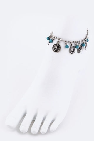 Boho Fringe Coins and Beads Anklet